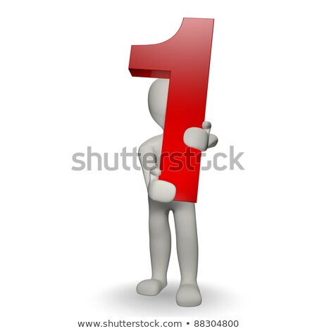 3d human character holding number one stock photo © giashpee