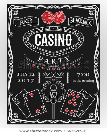 Stockfoto: Casino · uitnodiging · illustratie · lijn · web