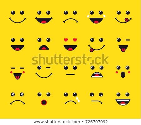 Foto d'archivio: Set · sorrisi · isolato · bianco · occhi · faccia