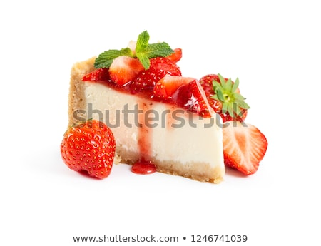 ízletes · epertorta · izolált · fehér · étel · háttér - stock fotó © juniart