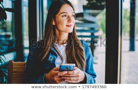 Pondering coffee brunette. Stock photo © lithian