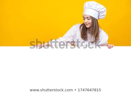 młodych · gotować · dziewczyna · fartuch · cap · gotowy - zdjęcia stock © pressmaster