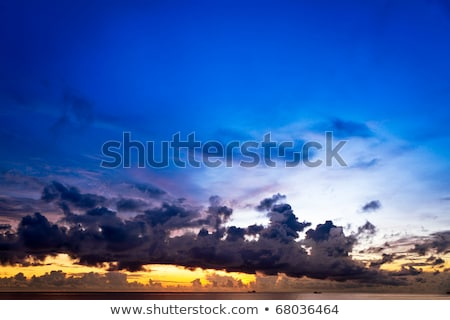 sunset at south china sea with big skies and ships phu quoc vietnam stock photo © fisfra