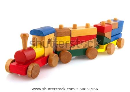 ストックフォト: 木製玩具 · 列車 · 孤立した · 白 · 赤 · おもちゃ
