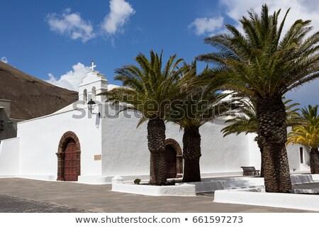 blanche · église · palmiers · bleu - photo stock © dbvirago