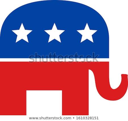vermelho · branco · azul · republicano · elefante · símbolo - foto stock © aliencat