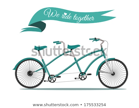 Valentin nap kártya tandem bicikli retró stílus boldog Stock fotó © marish