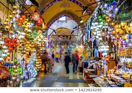 istanbul grand bazaar   mosaic turkish lanterns stock photo © bertl123