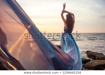 魅力的な 女性 グレー ドレス ポーズ ネックライン ストックフォト © acidgrey