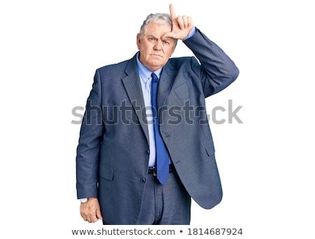 Zakenman onbeleefd selectieve aandacht hand Stockfoto © michaklootwijk