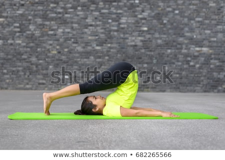 Portrait of healthy young woman practising yoga exercise on mat  Stock photo © HASLOO