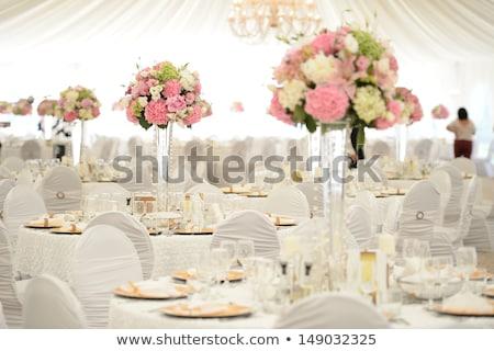 asztal · dekoráció · esküvői · fogadás · díszített · fehér · lila - stock fotó © KMWPhotography