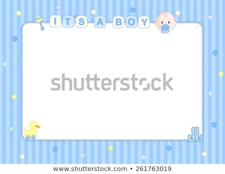 baby · jongen · aankondiging · kaart · kinderwagen · partij - stockfoto © balasoiu