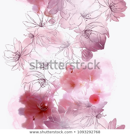 Foto stock: Seamless Water Background With Pattern Tree Japanese Cherry Blossom Realistic Sakura Vector Nature