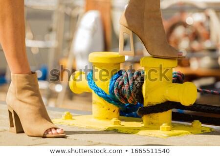 áll nő visel divatos vágány barna Stock fotó © phbcz