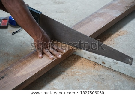 craftsman holding a board and a handsaw Stock photo © photography33