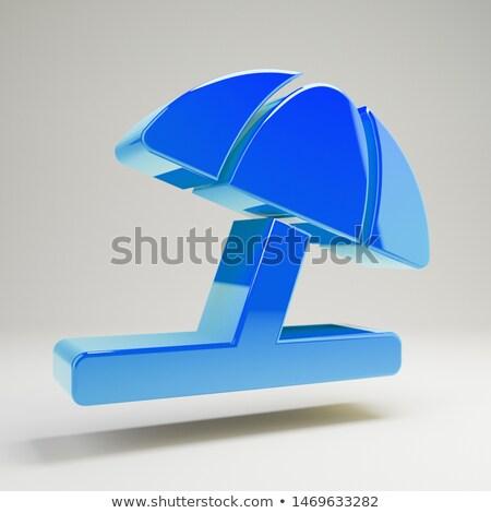 Guarda-chuva ícone azul isolado branco Foto stock © zeffss