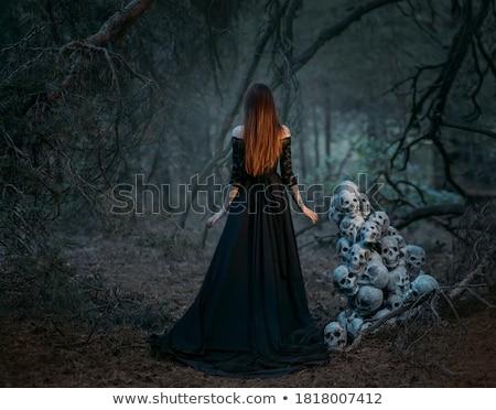 Wampira kobieta wektora halloween uśmiech krwi Zdjęcia stock © GeraKTV