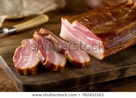 peça · fumado · bacon · branco · prato · gordura - foto stock © milsiart