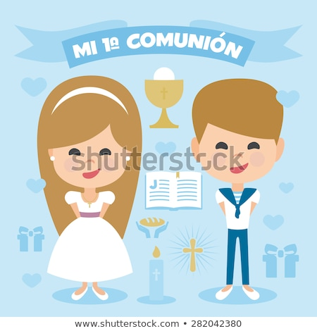 blonde girl  first communion invitation card Stock photo © marimorena