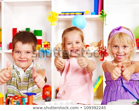 child play with colorful plasticine blocks Stock photo © goce
