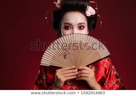 Retrato belo gueixa ventilador primavera cara Foto stock © Nejron