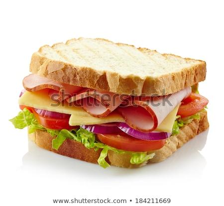 Foto stock: Delicioso · jamón · queso · ensalada · sándwich · aceitunas