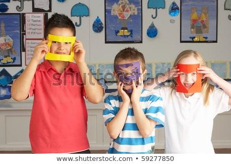 schaar · papier · witte · teken · tool - stockfoto © monkey_business