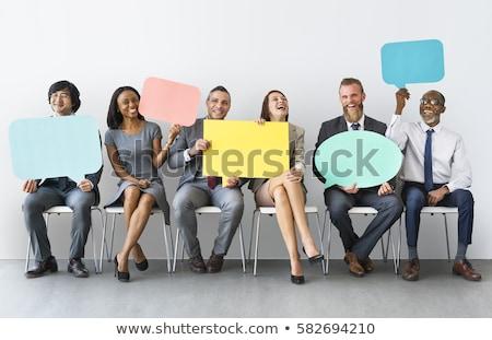 üzletember tart szövegbuborék gondolkodik felirat portré Stock fotó © bmonteny