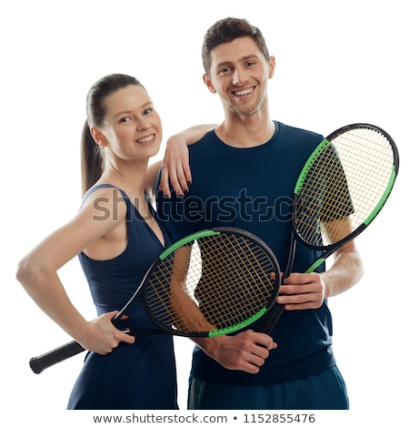 Sports guy holds on shoulder a girl on a white Stock photo © vlad_star