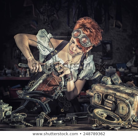 Attractive steam punk girl with googles  Stock photo © Nejron