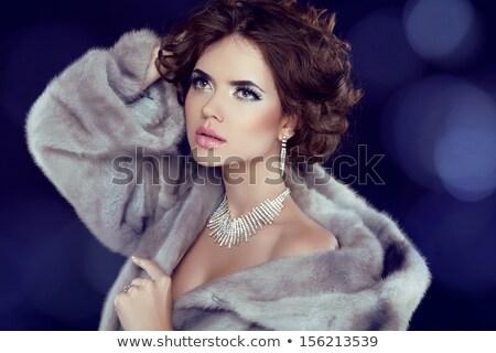 Schoonheid mode model meisje pels diamant Stockfoto © Victoria_Andreas