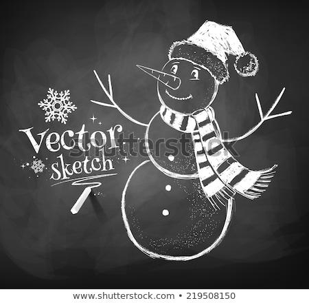 snowman on blackboard stock photo © PixelsAway