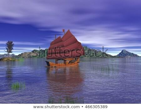 Orientalny dżonka łodzi 3d ocean Zdjęcia stock © Elenarts