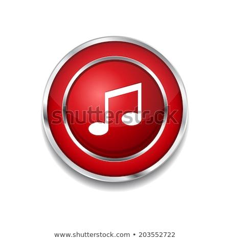 Zene jegyzet körkörös vektor piros webes ikon Stock fotó © rizwanali3d
