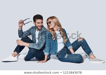 ストックフォト: 小さな · ファッション · カップル · 座って · 白 · 表