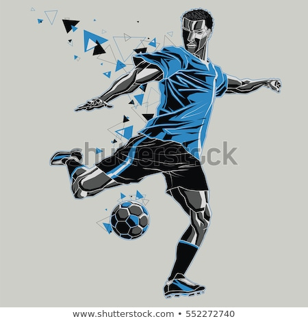 futballista · kék · rúg · fehér · férfi · sport - stock fotó © wavebreak_media
