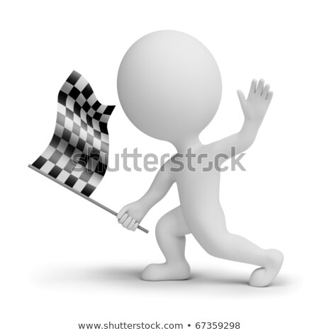 3d small people whitch a checkered flag Stock photo © AnatolyM