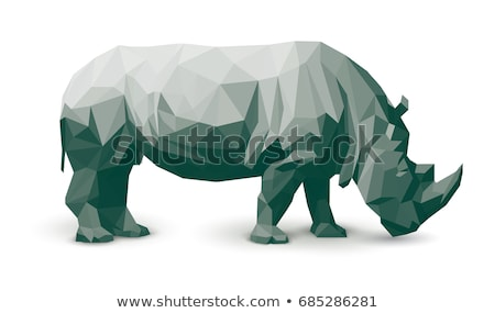 rhino 3d low polygon isolate on white background Stock photo © teerawit