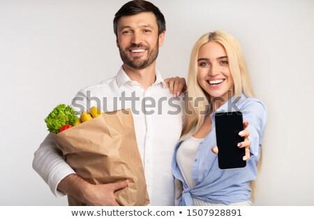 幸せな家族 食料品 袋 白 食品 子 ストックフォト © wavebreak_media