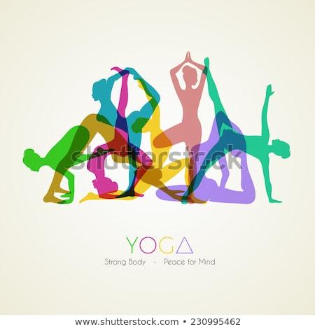 Establecer colorido yoga silueta negocios agua Foto stock © shawlinmohd