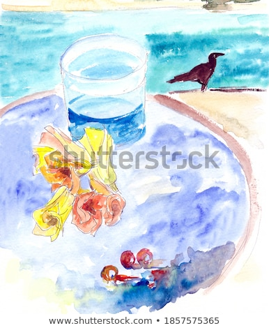 paradise alcoholic cocktail scetch stock photo © netkov1