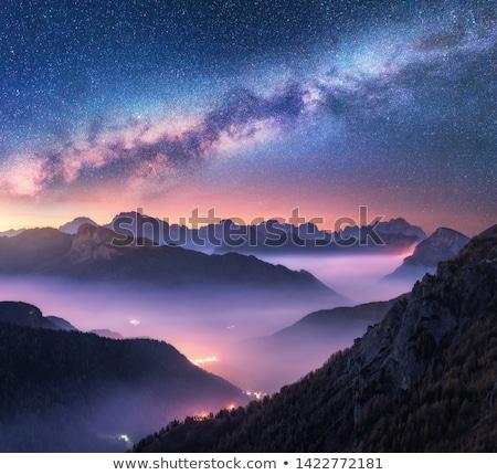 Szürkület hegyek nyár tájkép kora reggel virágzó Stock fotó © Kotenko