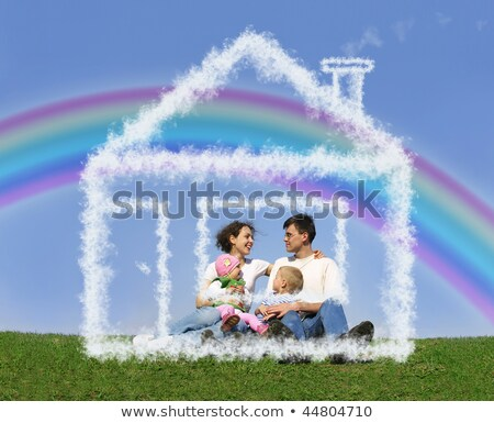 familia · nino · pradera · sueno · nube · casa - foto stock © Paha_L