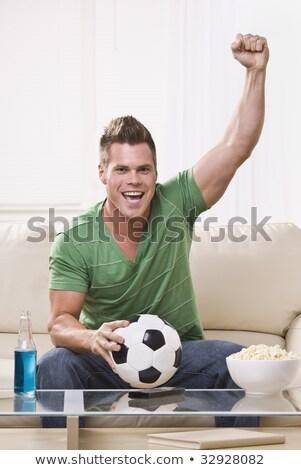 Excitado deportes ventilador celebración cintura hasta Foto stock © ozgur
