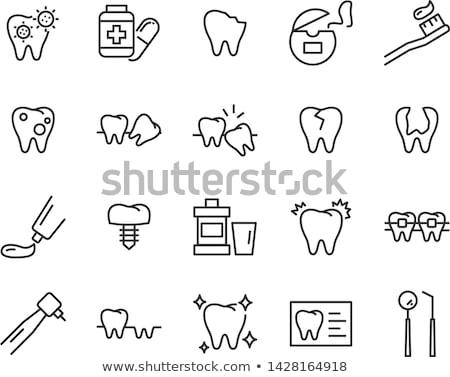 Diente implante línea icono web móviles Foto stock © RAStudio