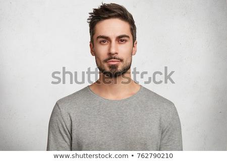 jovem · caucasiano · homem · falso · bigode · cinza - foto stock © elnur