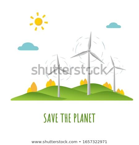 ストックフォト: 風 · エネルギー · 統計 · 図 · 風力タービン · 再生