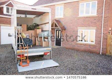 remoção · casa · caixas · interior · ninguém · marrom - foto stock © ivonnewierink