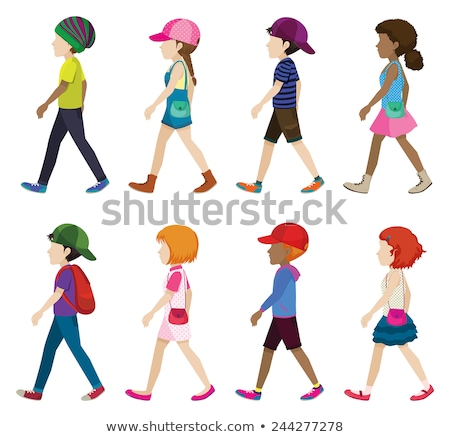 Stockfoto: Jonge · meisjes · jongens · lopen · witte · gezicht